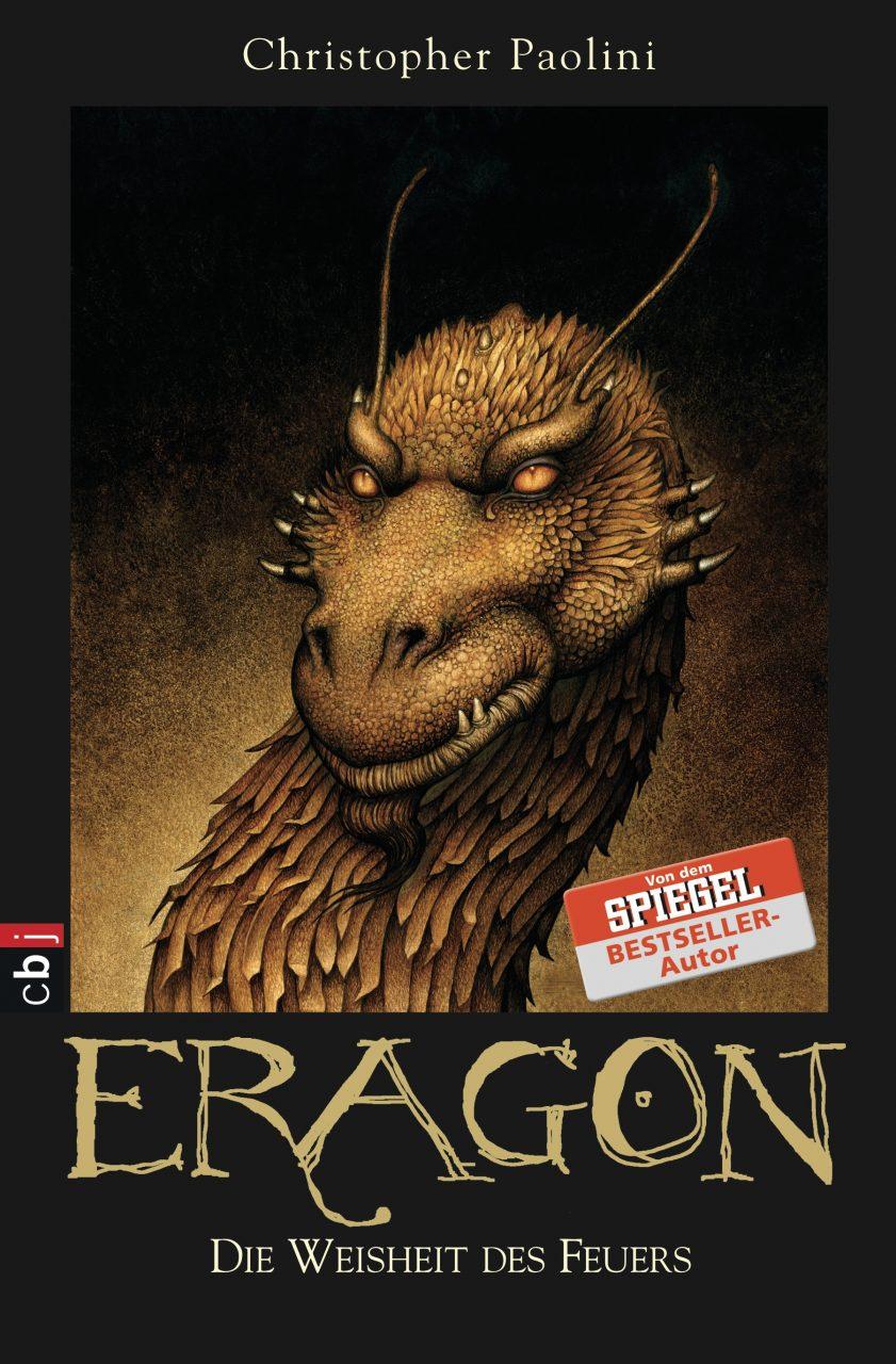 """Das Cover von """"Eragon - Die Weisheit des Feuers"""" zeigt einen goldenen Drachen."""